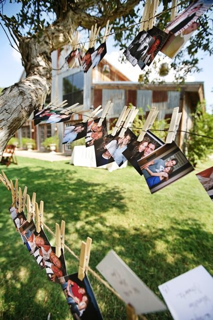 fun way to display pictures for an at home wedding reception, graduation party, etc
