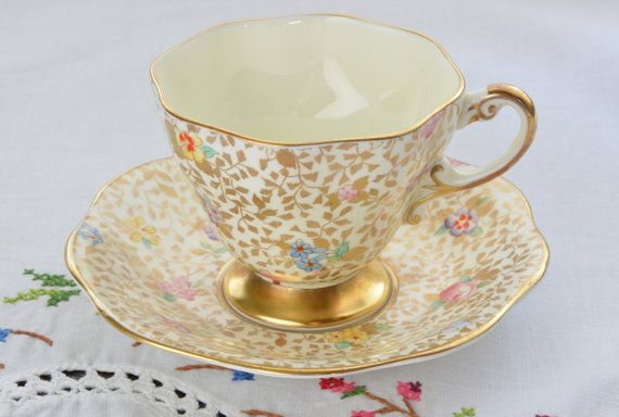 Foley bone china made in England tea cup and saucer/ gold tea cup/ chintz tea cup
