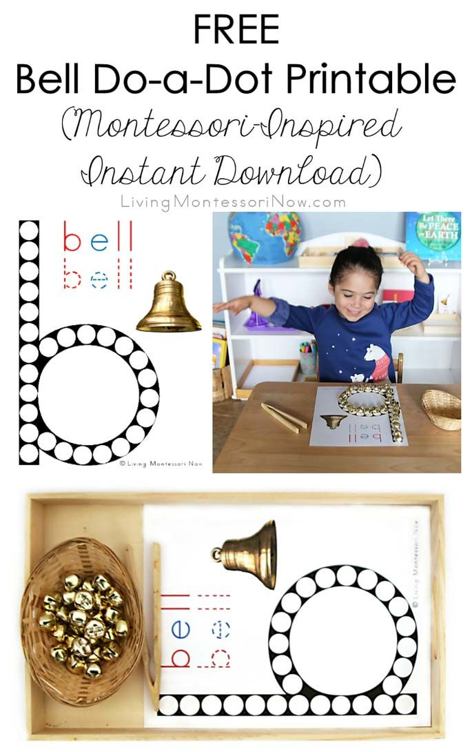 Free Montessori-inspired bell do-a-dot printable to focus on the beginning sound for the letter b; idea for bell transfer activity.