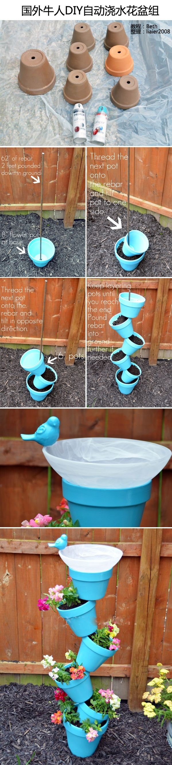 Do this but only like 3 high with flower pot watering can fountain head on top pouring into terra cotta tiered pot bird bath. With pump hose running up with rebar to fountain head.
