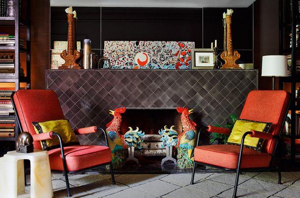 Фрагмент гостиной в квартире в Нью-Йорке, дизайн Лора Кирар