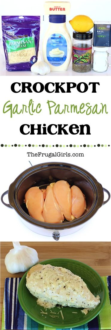 Crock Pot Garlic Parmesan Chicken Recipe! ~ from TheFrugalGirls.com ~ make dinner the highlight of your week with this ridiculously delicious Crockpot meal! Perfect for nights when company is coming over, too!