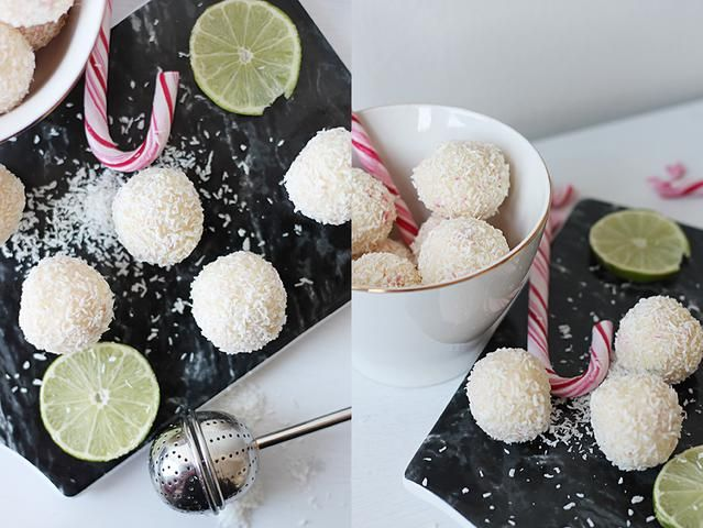Dessa snöbollar, aka vita chokladbollar med smak av polkagris och lime ger en härlig smakupplevelse med både sött och syrligt. Det här receptet ger 12 stycken snöbollar.  Ingredienser: 200 g vit choklad 1 dl vispgrädde 4 dl kokosflingor rivet skal f