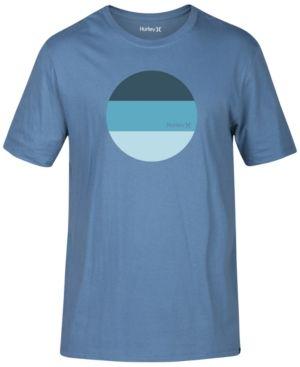 Hurley Men's Circle Block Premium Graphic-Print Logo Cotton T-Shirt  - Blue 2XL