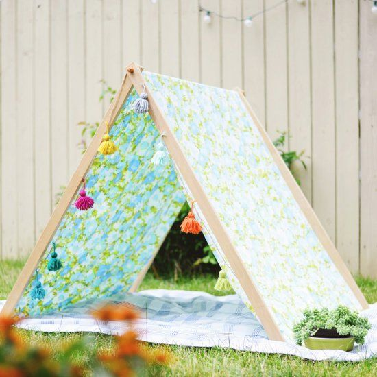 DIY fold up A-frame tent for backyard summer fun with the kids!