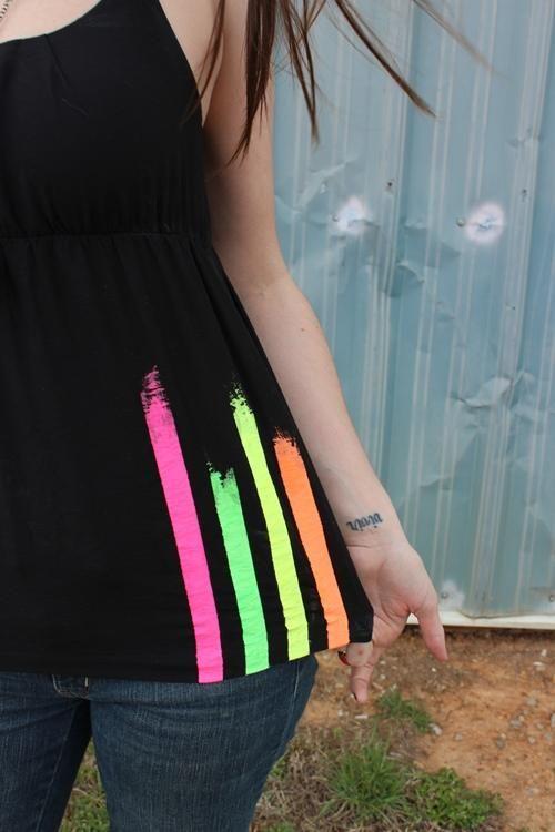 DIY Clothes DIY Refashion:  DIY Summery Striped Neon Shirt