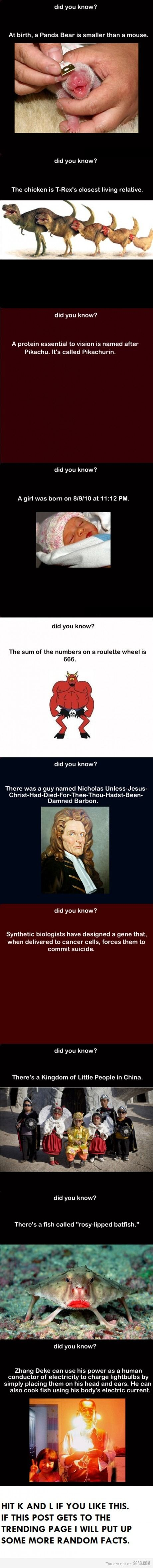 random facts, I don't know if all of these are true, but if it is then cool!