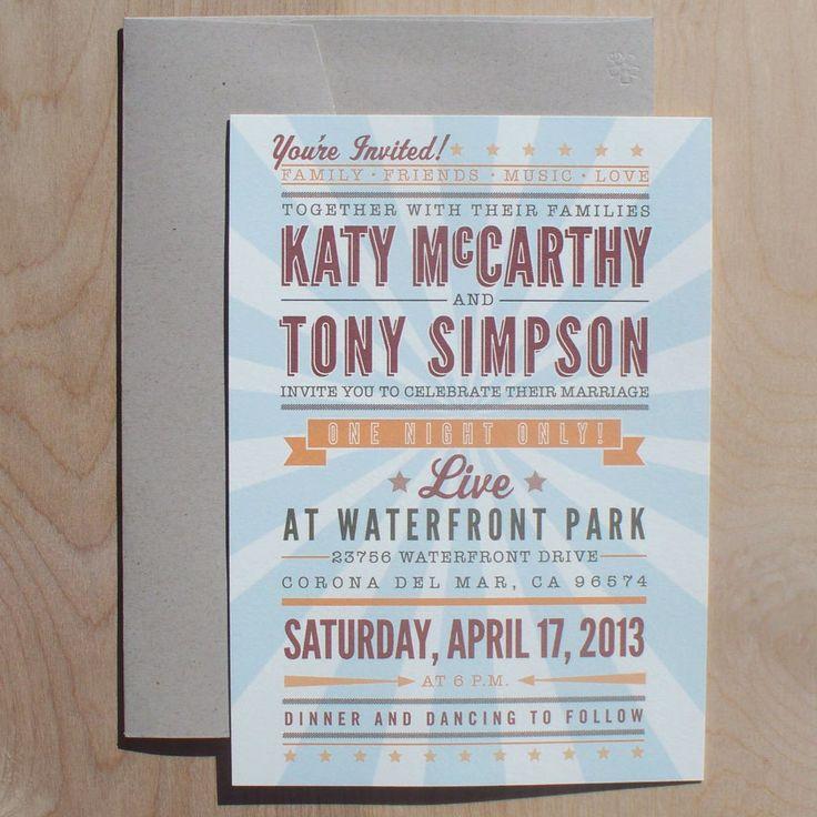 Music Concert Poster Wedding Invitations - vintage poster invitation, music invitation, retro invitation, hatch show print invitation-. $3.75, via Etsy.