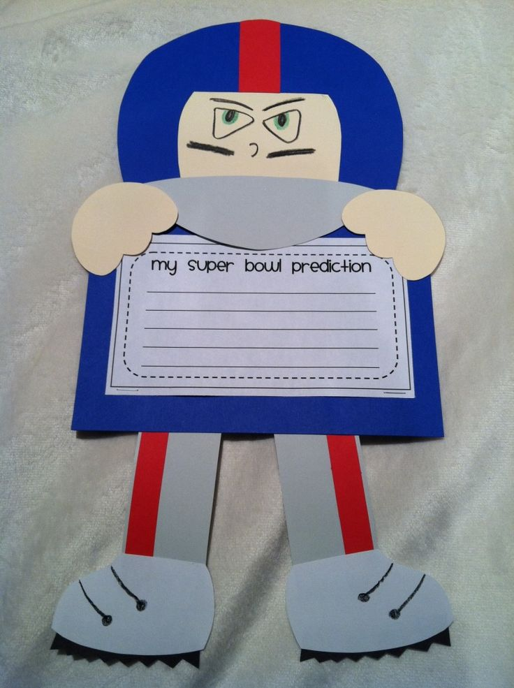 Love! Will fit perfectly with my theme. Super Bowl craft & prediction writing prompt!  Don't like the teams in the game this year?  Make your own team player and write about your prediction for next year's win!
