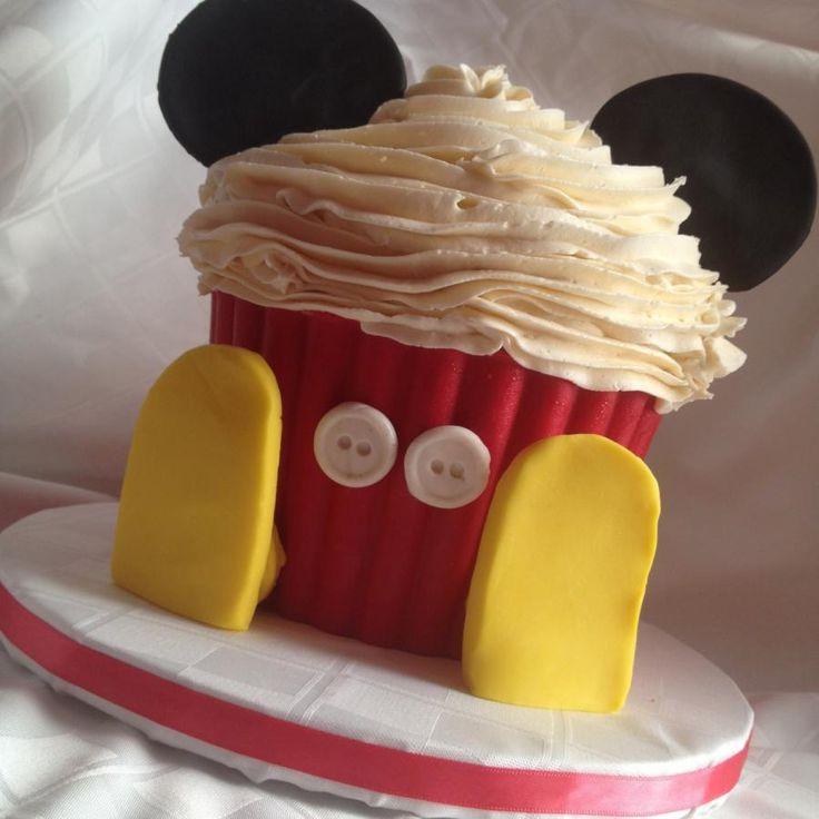 Smash cake Mickey Mouse   visit us at www.facebook.com/TinyTastes  or www.tinytastes.net  #mickeycake #smashcake #mickey #giantcupcake
