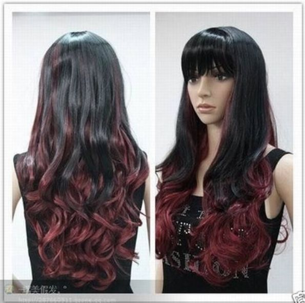 New Black and Dark Red Mix Long Curly Cosplay Full Wig KH33 | eBay