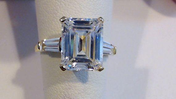 6,00 carat poids Total émeraude coupé avec la bague de fiançailles/mariage/anniversaire/promesse de Baguettes solide 14K or jaune
