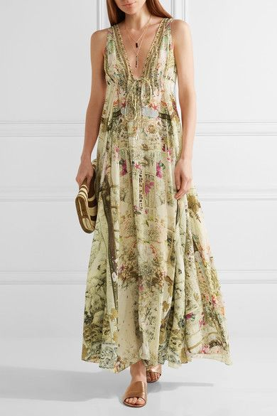 Camilla | Chinese Whispers crystal-embellished printed silk crepe de chine maxi dress | NET-A-PORTER.COM