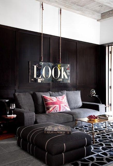 .black living room.