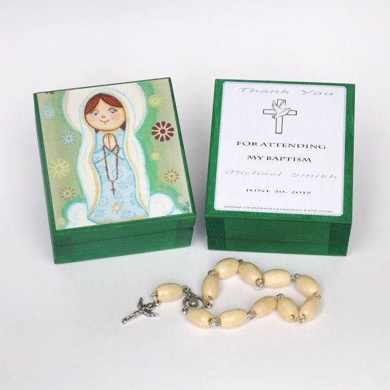 Our Lady of Fatima box First Communion favor Wooden keepsake box Virgin Mary art Girls treasure box Personalized keepsake box Girls gift box