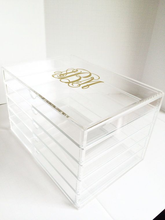 Personalized Monogrammed Acrylic Makeup Organizer by ThePinkPlumCo