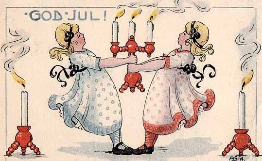 Vintage Swedish Christmas card. We actually have some of those candle holders!