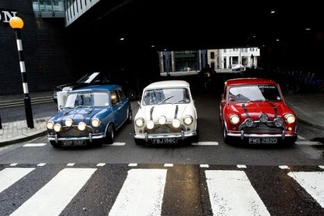 Three 1960s Mini Coopers, used in the 1969 film The Italian Job