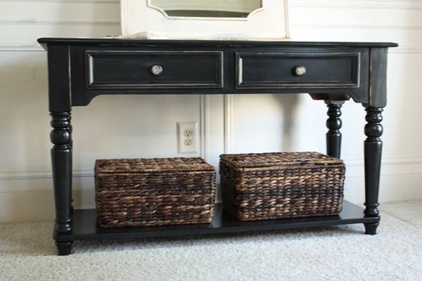 DIY-a video tutorial for painting a black finish on furniture (pottery barn style)