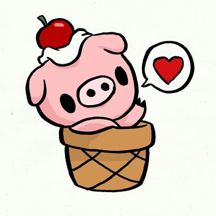 Bacon Flavored Ice-Cream, Piggy chilling (haha) in an ice-cream cone with cherry and whipped cream on top. The best desert!