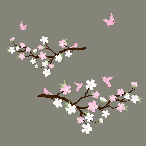 Cherry Blossom Branch with Birds-Children Nursery Wall Decal Vinyl
