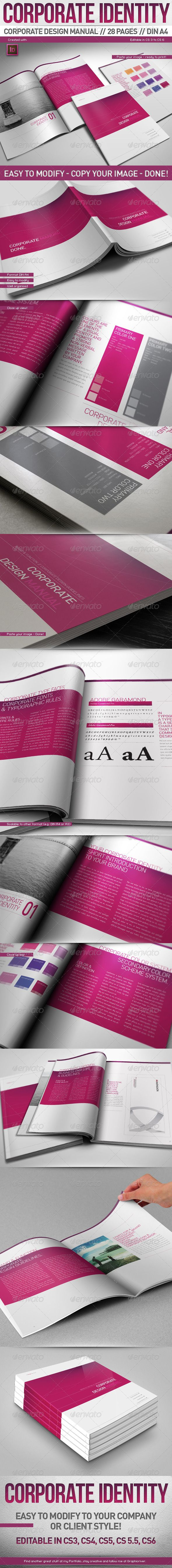 GraphicRiver Corporate Design Manual Guide DIN A4 28 Pages 3286103