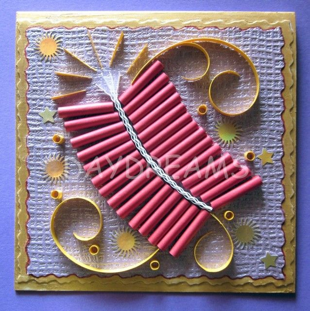 15+ Diwali card making ideas   - Make the crackers by rolling red colour papers, two and a half centimeter longs into tight coils to form this real looking pataka ladi card