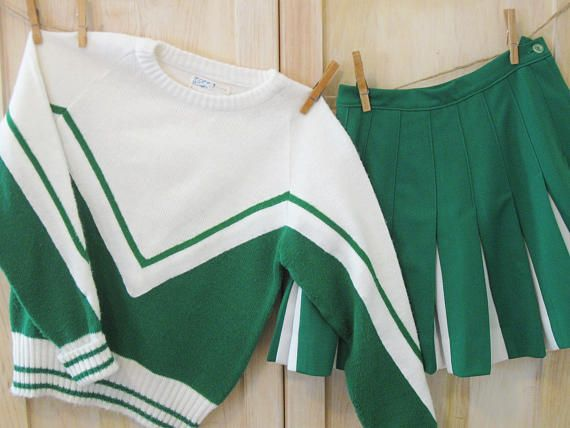 Cheerleader Outfit Vintage 2 Piece Cheerleading Outfit Green