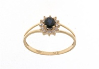 gold diamond ring with sapphire HSI quality