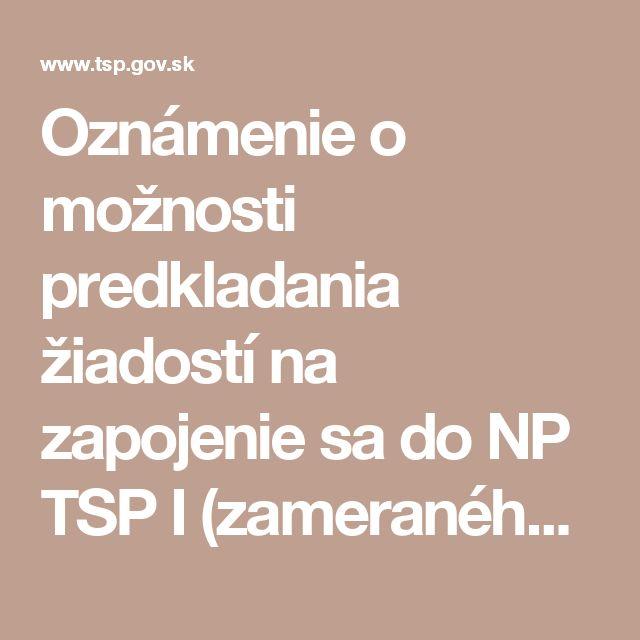 Oznámenie o možnosti predkladania žiadostí na zapojenie sa do NP TSP I (zameraného na organizácie pracujúce s ľuďmi bez domova) |