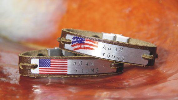 Free shipping – Personalised - men's leather bracelet -hand stamp - 4th of July - flag bracelet - women bracelet - Couple Bracelets  Ask a Question $76.90 USD