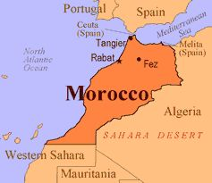 Map of Morocco with its Capital Rabat.
