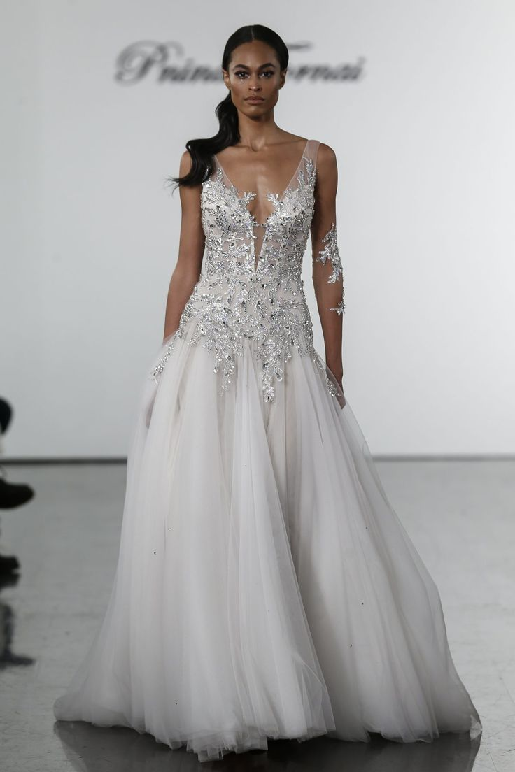 Crystal Bodice Sheath With Silk Tulle Skirt Kleinfeld Bridal Tulle Skirt Wedding Dress Pnina Tornai Wedding Dress Bling Wedding Dress