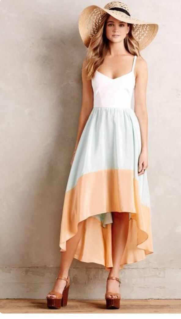 Love this high low dress! White, mint and orange coral . Perfect for spring! Straw hat with platform wedges.  Stitch fix spring 2016