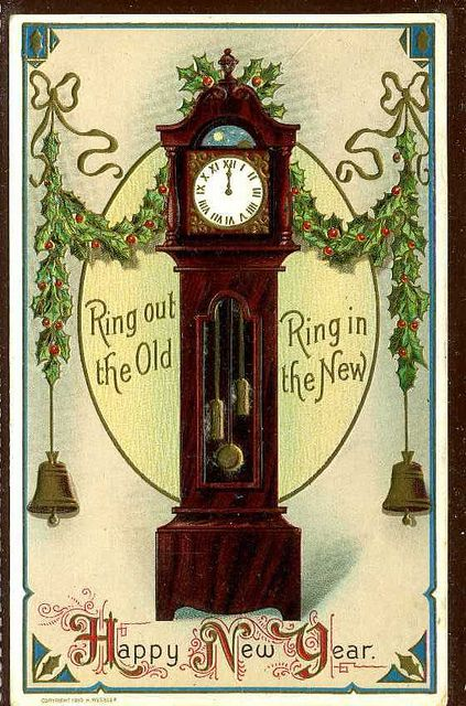 new year greeting with clock embossed gre248 ephemera pinterest new year greetings new year card and vintage christmas