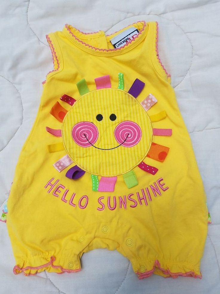 Love Being Me Baby Girl Romper Size 12 Months Yellow Sunshine Ribbon Ruffle  #LoveBeingMe #Everyday