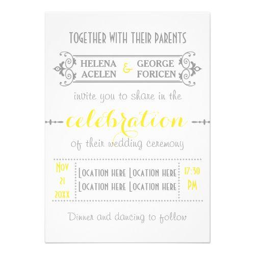 Modern typography yellow, grey wedding custom invites