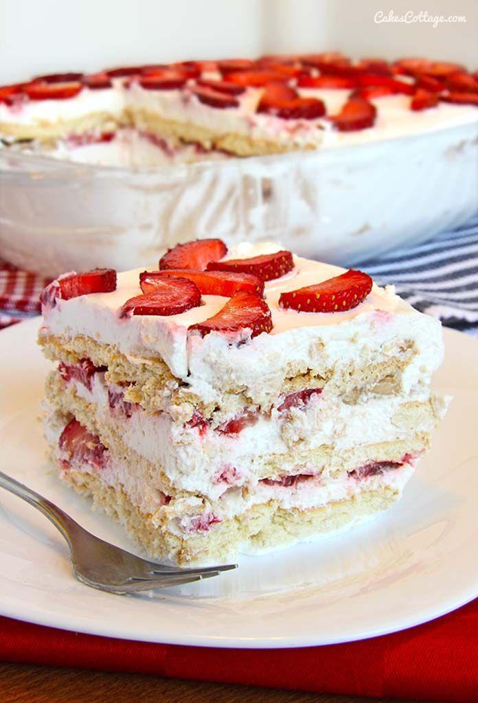 No Bake Strawberry Icebox Cake | Recipe | Strawberry Icebox Cake ...