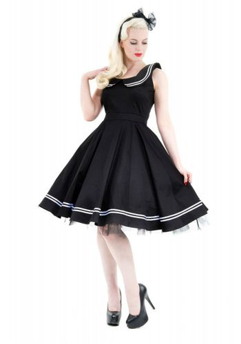 Sailor Girl Nautical Black Cocktail Swing Dress by Hearts & Roses London. $40