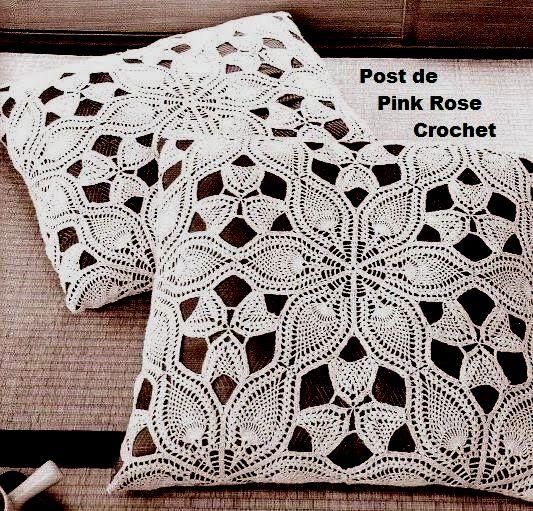 PINK ROSE CROCHET /: Almofada Renda Cutwork Lace de Abacaxis em Crochê
