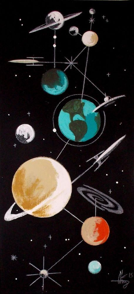 EL GATO GOMEZ PAINTING RETRO 60S 1950S SPACE SHIP SCI-FI SCIENCE PULP ART ROCKET #Modernism