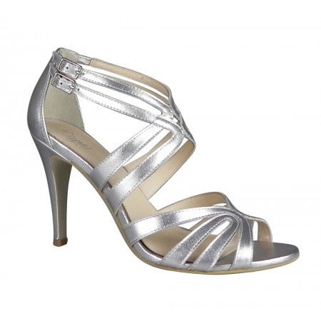 silver strappy heels bridesmaid