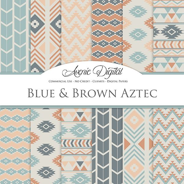 Blue and Brown Aztec Digital Paper. Scrapbook Backgrounds. Aztec patterns, tribal geometric, native, pastel muted, neutral Commercial Use, Download
