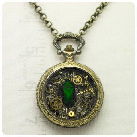 Pocket Watch Necklace w/ Beetle