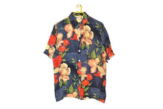 Vintage Floral Button Up Blouse Short Sleeve Summer Top Blue