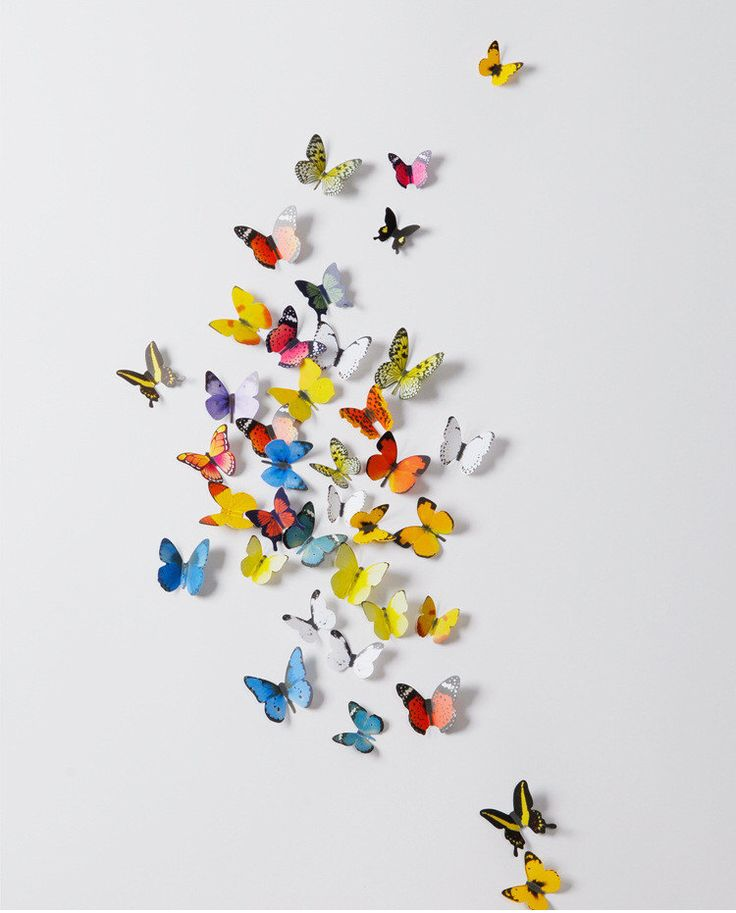 Stereoscopic wall sticker 3D simulation Butterflies Wall sticker ,3D butterflies wall decal- set of 38 various sizes, various colors by enjoyparty on Etsy https://www.etsy.com/ca/listing/227668141/stereoscopic-wall-sticker-3d-simulation