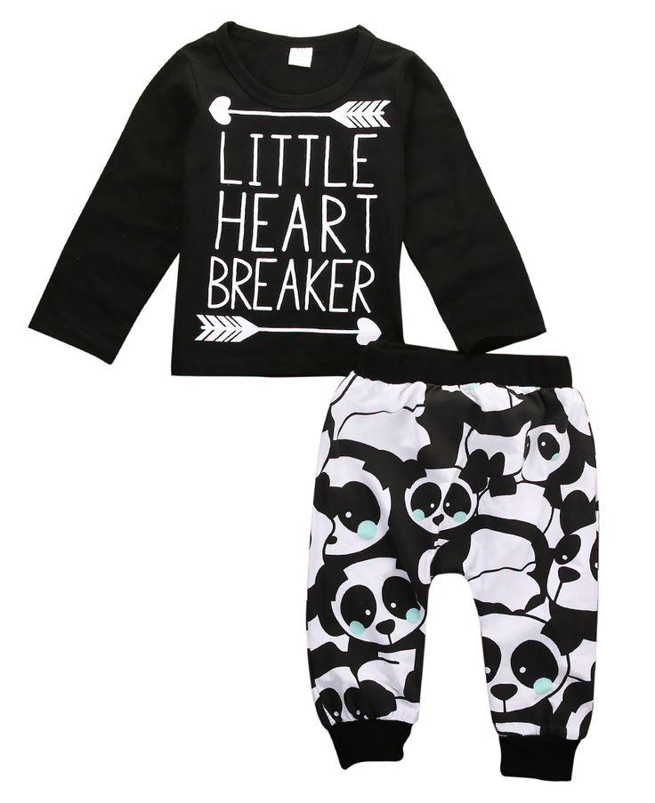 >> Click to Buy << 2pcs!!Autumn Winter Newborn Infant Baby Boy Girl Clothes Long Sleeve Letter T-shirt Top+Pant Legging Pandas Outfits Set #Affiliate