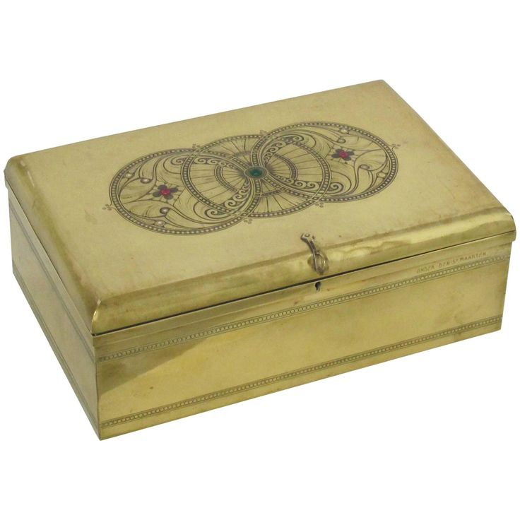 Dutch Art Nouveau (Nieuwe Kunst) Brass Engraved Chest by J.C. Stoffels | From a unique collection of antique and modern boxes at https://www.1stdibs.com/furniture/decorative-objects/boxes/