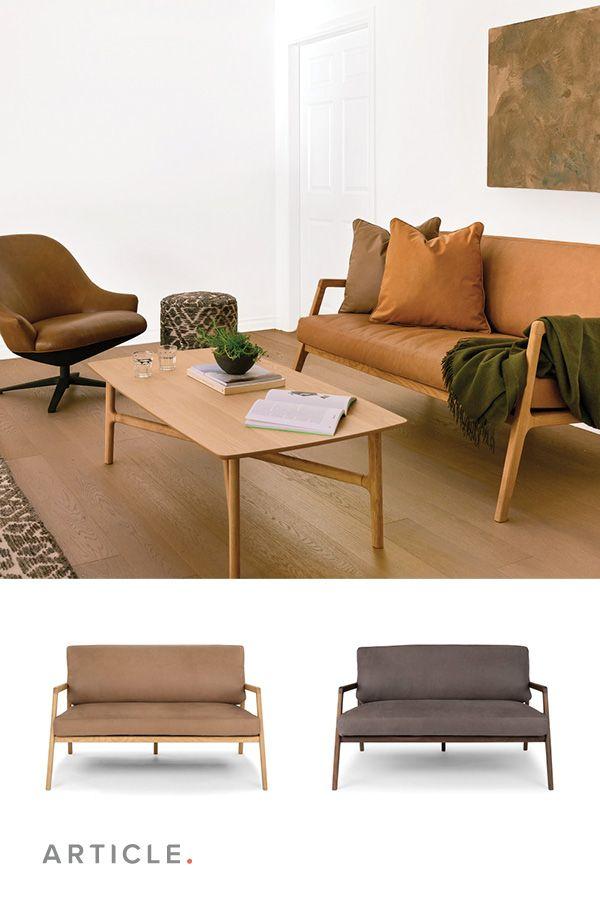 Fantastic Tan Leather Loveseat Solid Oak Frame Article Denman Dailytribune Chair Design For Home Dailytribuneorg