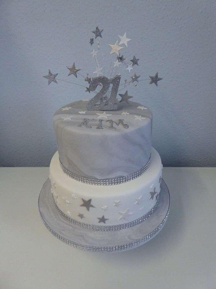2 Tier 21st Birthday Cake With Silver And White Marble